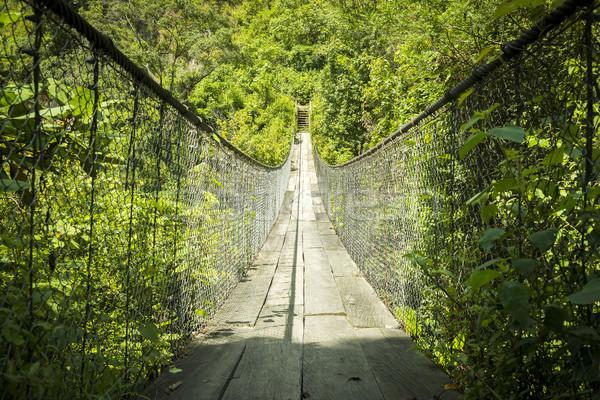 Puente colgante Guatemala río central América Foto stock © THP