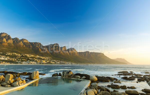 Oniki gün batımı Güney Afrika plaj gökyüzü doğa Stok fotoğraf © THP