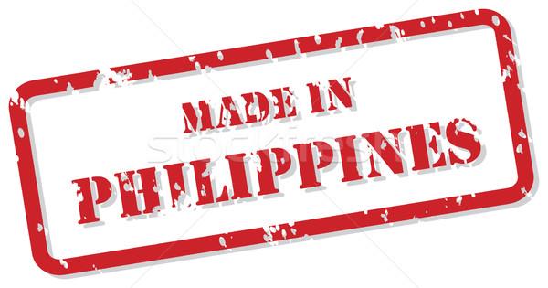 Fülöp-szigetek bélyeg piros pecsét vektor terv Stock fotó © THP