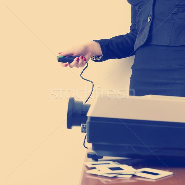 бизнеса слайдов презентация деловой женщины проектор белый Сток-фото © THP