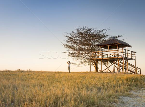 Young Woman on African Safari Stock photo © THP