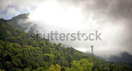 Kábel autó elképesztő vonalak dzsungel hegy Stock fotó © THP