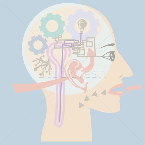 Emberi fej mutat sok látnivaló szag Stock fotó © THP