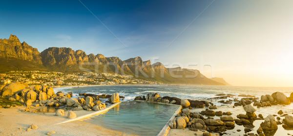Stockfoto: Zonsondergang · panorama · South · Africa · Cape · Town · strand · hemel