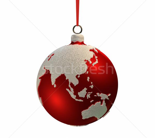 Christmas żarówki kontynenty asia Australia czerwony Zdjęcia stock © ThreeArt