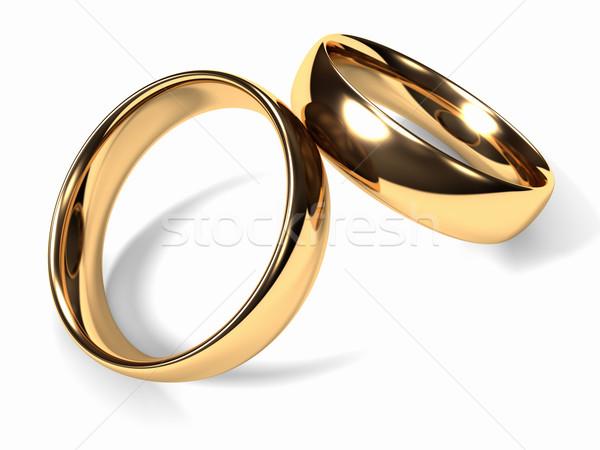 обручальными кольцами два золото вместе белый свадьба Сток-фото © ThreeArt