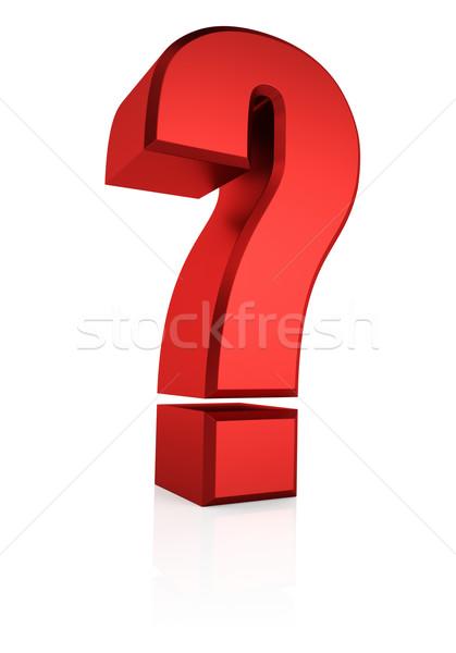 3D Rood vraag teken vraagteken geïsoleerd Stockfoto © ThreeArt