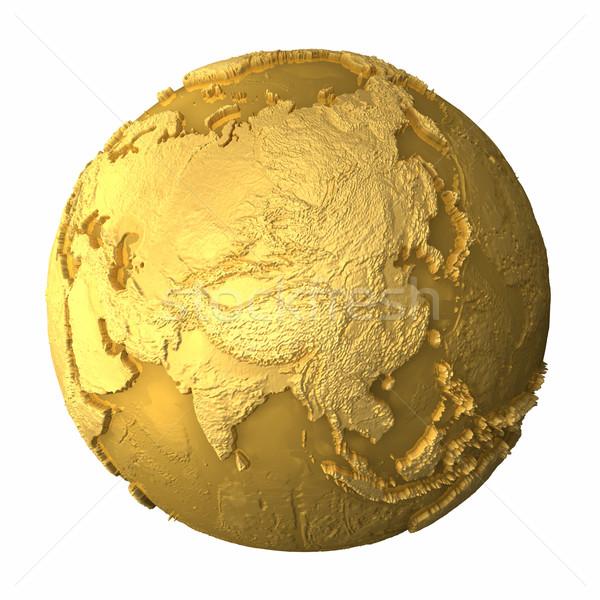 Oro mundo Asia metal tierra realista Foto stock © ThreeArt