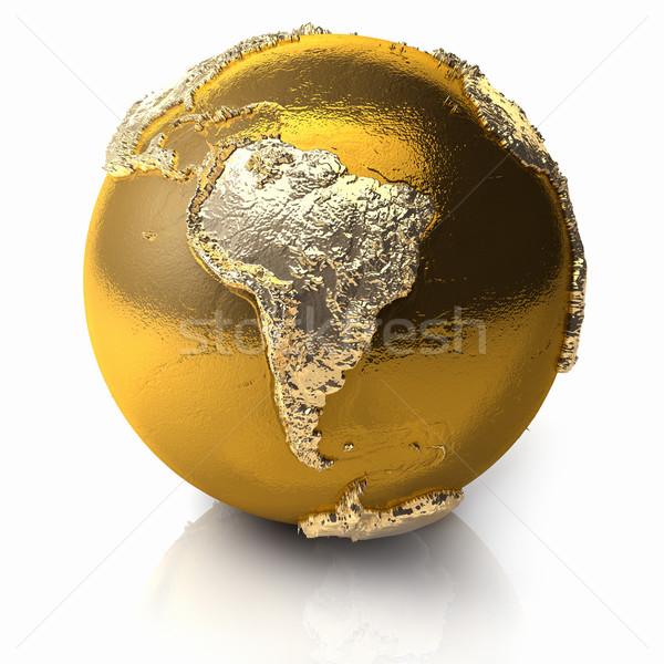 Altın dünya güney amerika gerçekçi topografya ışık Stok fotoğraf © ThreeArt