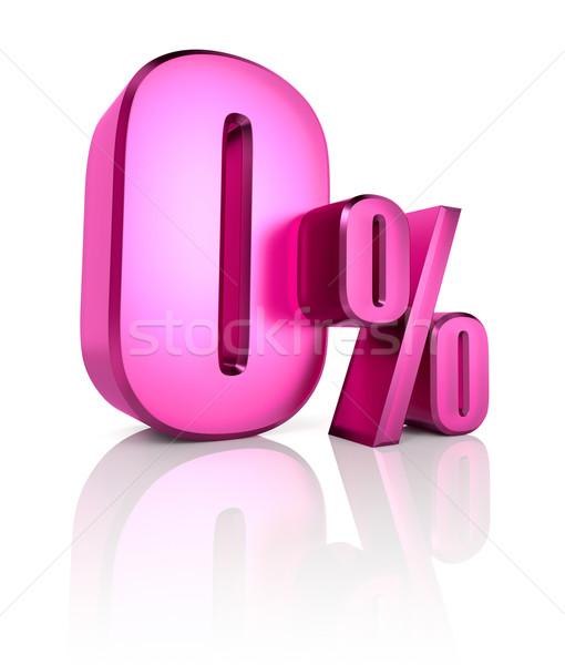 Stockfoto: Nul · procent · teken · roze · geïsoleerd · witte
