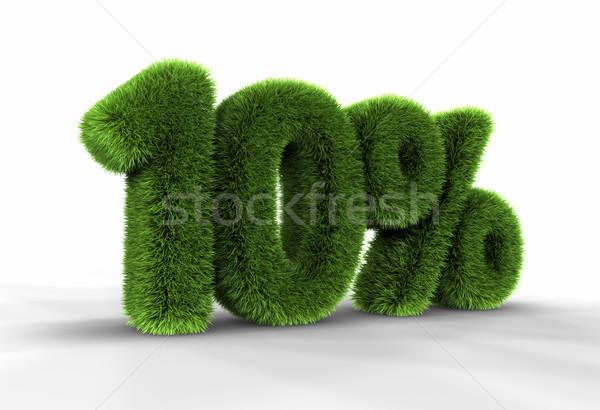 Stockfoto: Gras · tien · procent · geïsoleerd · witte · 10