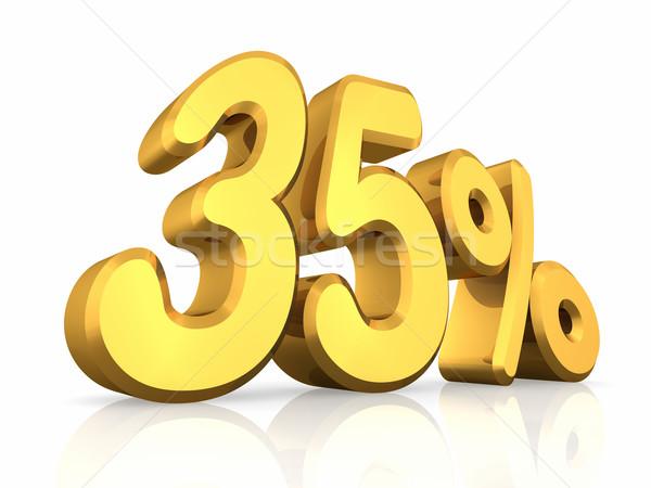 Stockfoto: Goud · dertig · vijf · procent · geïsoleerd · witte