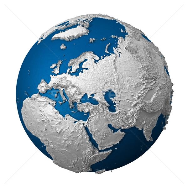 Stock foto: Künstliche · Erde · Europa · weiß · blau