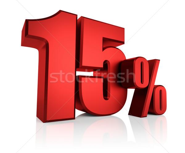 Piros 15 százalék fehér 3d render árengedmény Stock fotó © ThreeArt
