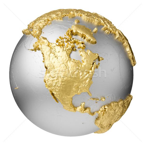 Arany észak Amerika ezüst földgömb víz Stock fotó © ThreeArt