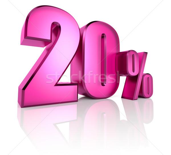 двадцать процент знак розовый изолированный белый Сток-фото © ThreeArt