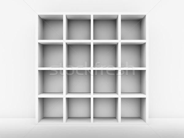 Biały półka na książki ściany 3d książki świetle Zdjęcia stock © ThreeArt