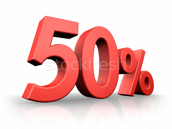 Stock photo: Red Fifty Percent