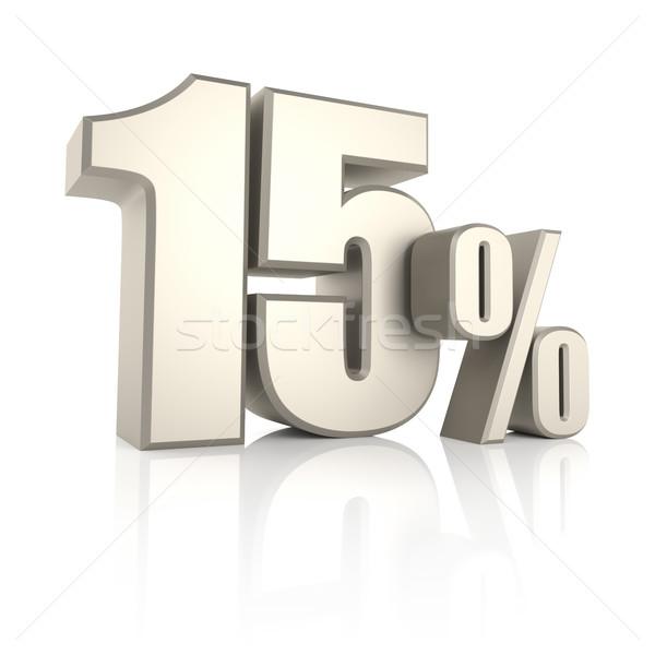 15 procent geïsoleerd witte 3d render teken Stockfoto © ThreeArt