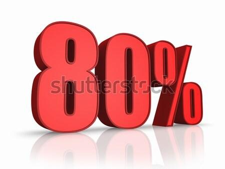 Vermelho oitenta por cento isolado branco 80 Foto stock © ThreeArt