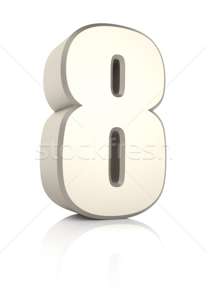 Number 8 Isolated on White Background Stock photo © ThreeArt