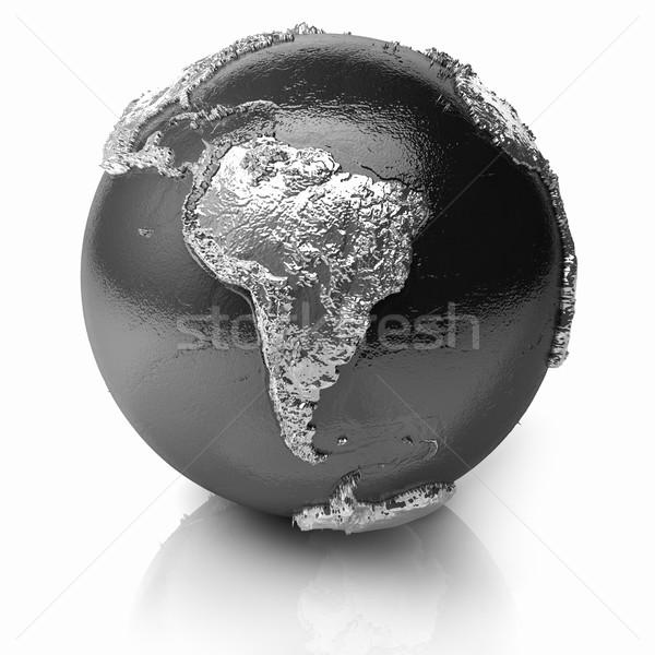 Zilver wereldbol metaal aarde realistisch Stockfoto © ThreeArt
