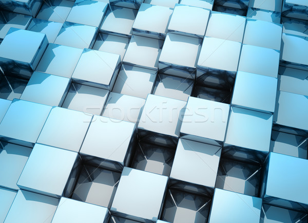 3D kockák kicsi fémes modern absztrakt Stock fotó © ThreeArt