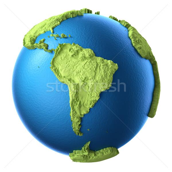 3D mondo isolato bianco continente sud america Foto d'archivio © ThreeArt