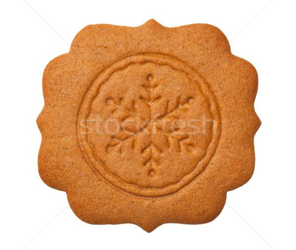 Foto stock: Pan · de · jengibre · etiqueta · copo · de · nieve · aislado · blanco · cookie