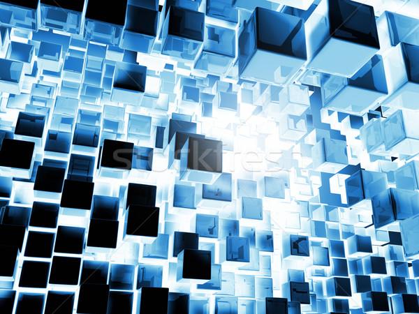 Bleu cubes métal battant abîme lumière Photo stock © ThreeArt