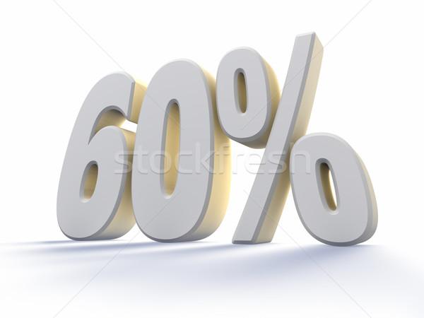 Altmış yüzde büyük beyaz numara yalıtılmış Stok fotoğraf © ThreeArt