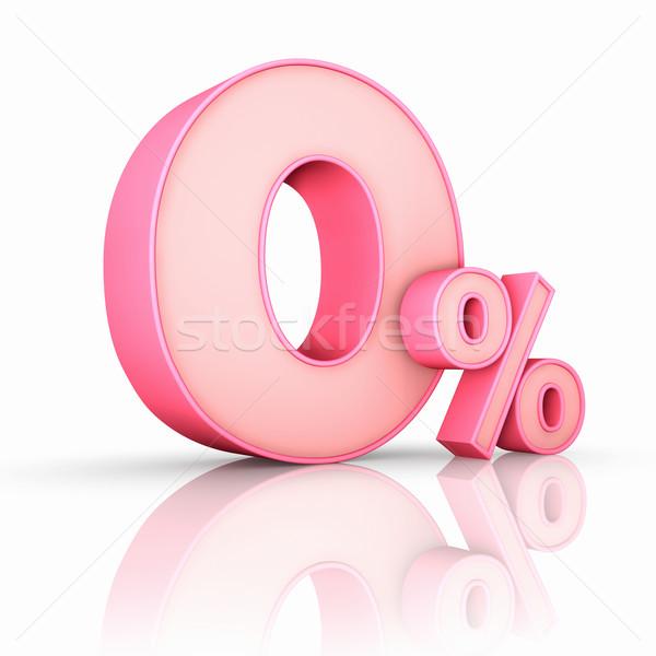 Rózsaszín nulla százalék izolált fehér üzlet Stock fotó © ThreeArt