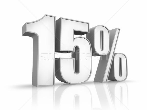 Biały piętnaście procent odizolowany 15 podpisania Zdjęcia stock © ThreeArt