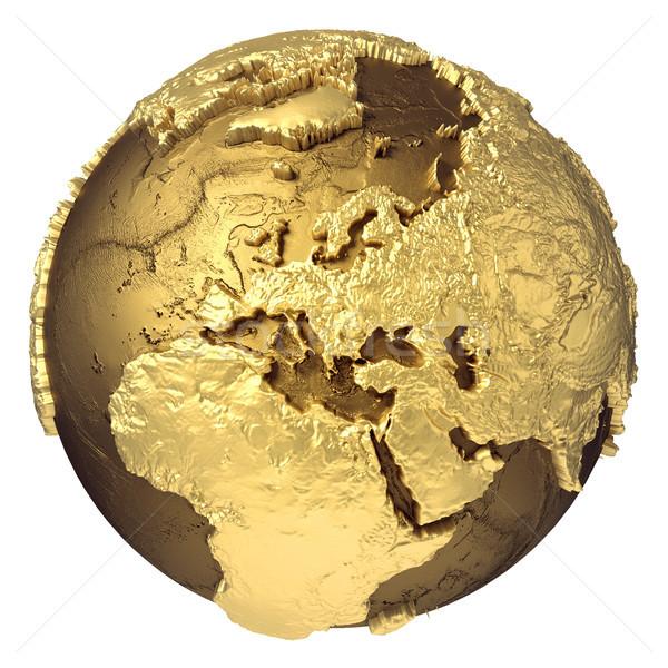 Arany földgömb Európa arany modell víz Stock fotó © ThreeArt