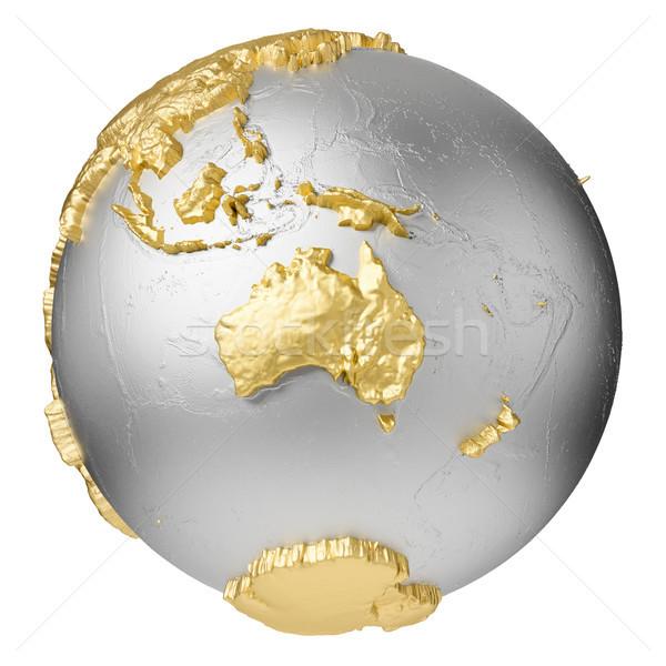 Arany Ausztrália ezüst földgömb víz 3D Stock fotó © ThreeArt