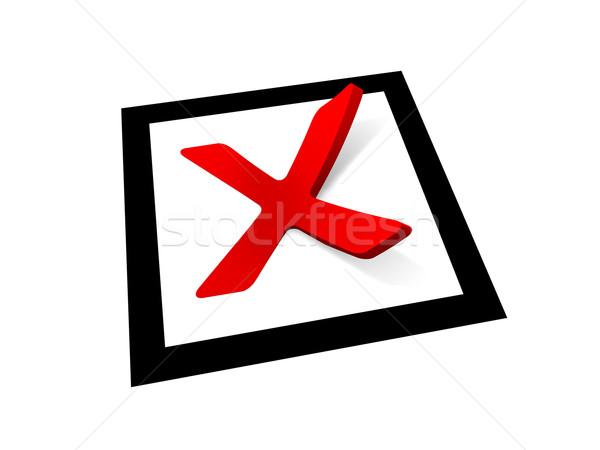 Rood controleren zwarte vierkante teken Stockfoto © ThreeArt