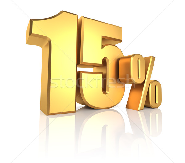 Goud 15 procent witte 3D Stockfoto © ThreeArt