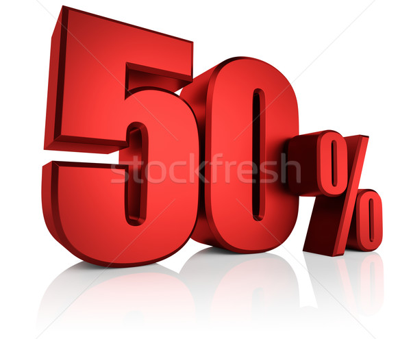 Stock photo: Red 50 Percent