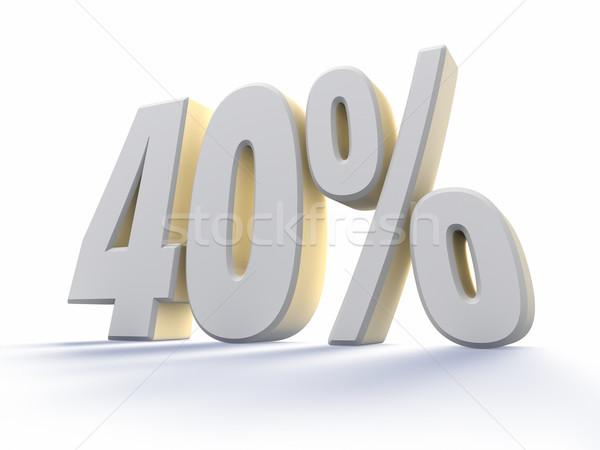 Czterdzieści procent biały numer odizolowany Zdjęcia stock © ThreeArt