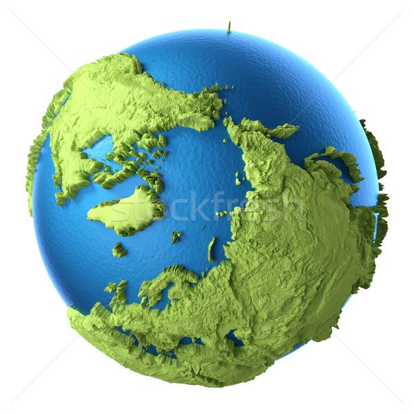 3D földgömb izolált fehér Északi Sark elemek Stock fotó © ThreeArt