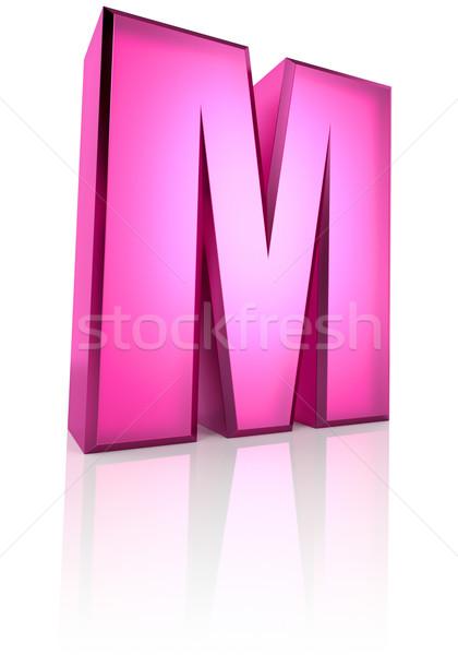Rózsaszín m betű izolált fehér 3D renderelt kép Stock fotó © ThreeArt