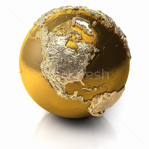 Altın dünya kuzey Amerika gerçekçi topografya Stok fotoğraf © ThreeArt