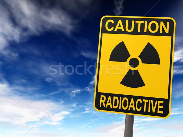 Radyoaktivite imzalamak mavi gökyüzü bulutlar dikkat radyoaktif Stok fotoğraf © ThreeArt