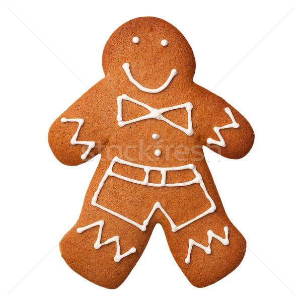 Gingerbread man yalıtılmış beyaz kurabiye üst görmek Stok fotoğraf © ThreeArt