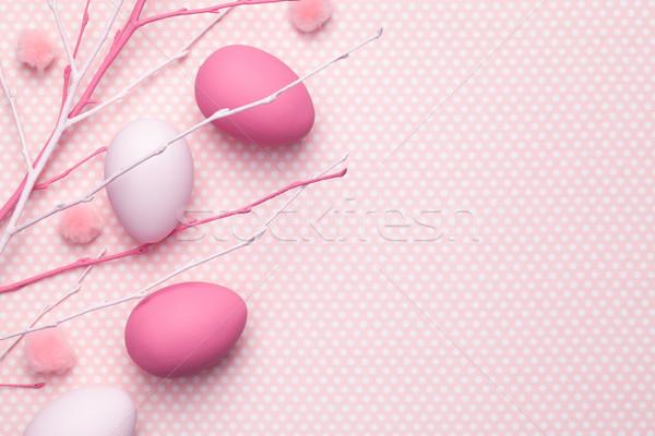 Foto stock: Pascua · pastel · espacio · de · la · copia · superior · vista · primavera