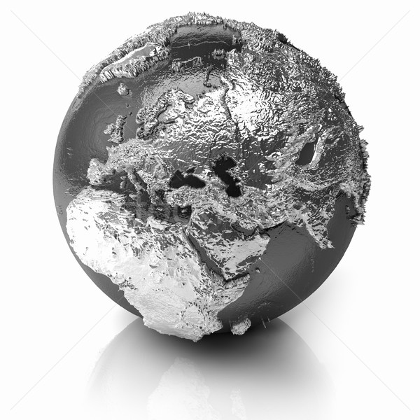 Ezüst földgömb Európa fém Föld valósághű Stock fotó © ThreeArt