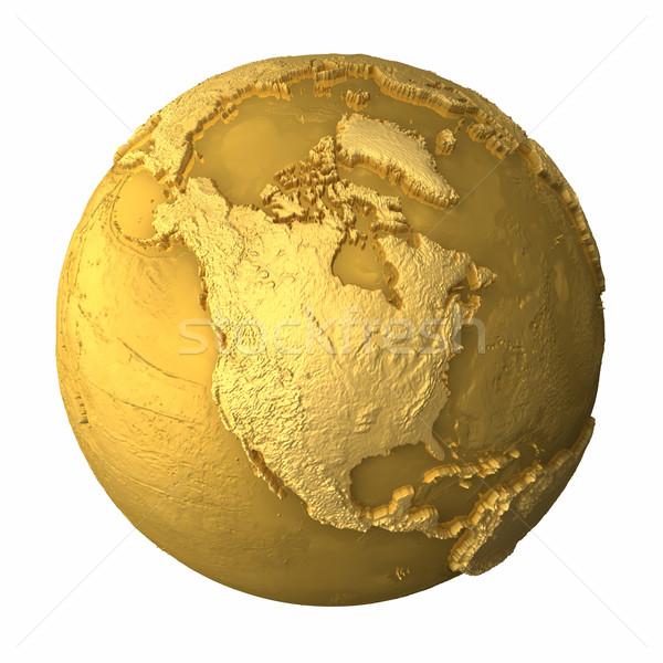 Arany földgömb észak Amerika fém Föld Stock fotó © ThreeArt