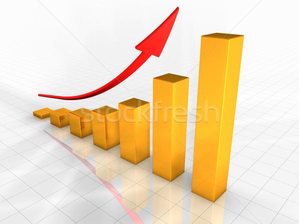 Iş grafik büyüyen altın grafik kırmızı Stok fotoğraf © ThreeArt