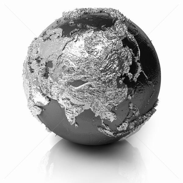 Gümüş dünya Asya Metal toprak gerçekçi Stok fotoğraf © ThreeArt