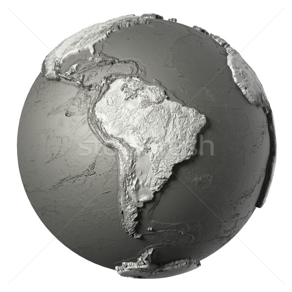 3D dünya güney amerika model ayrıntılı topografya Stok fotoğraf © ThreeArt